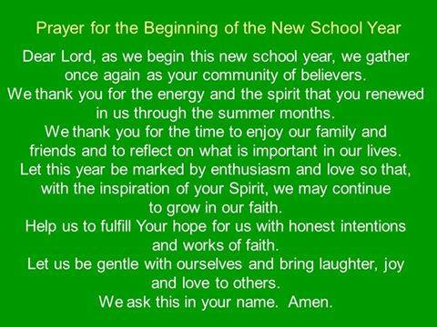 First Day of School Prayer